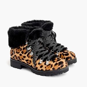 J.Crew Nordic boots in leather calf hair NWT 10